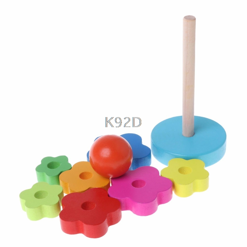 Baby Kid Education Wooden Toy Stacking Nest Learning Stack Up Rainbow Tower D21