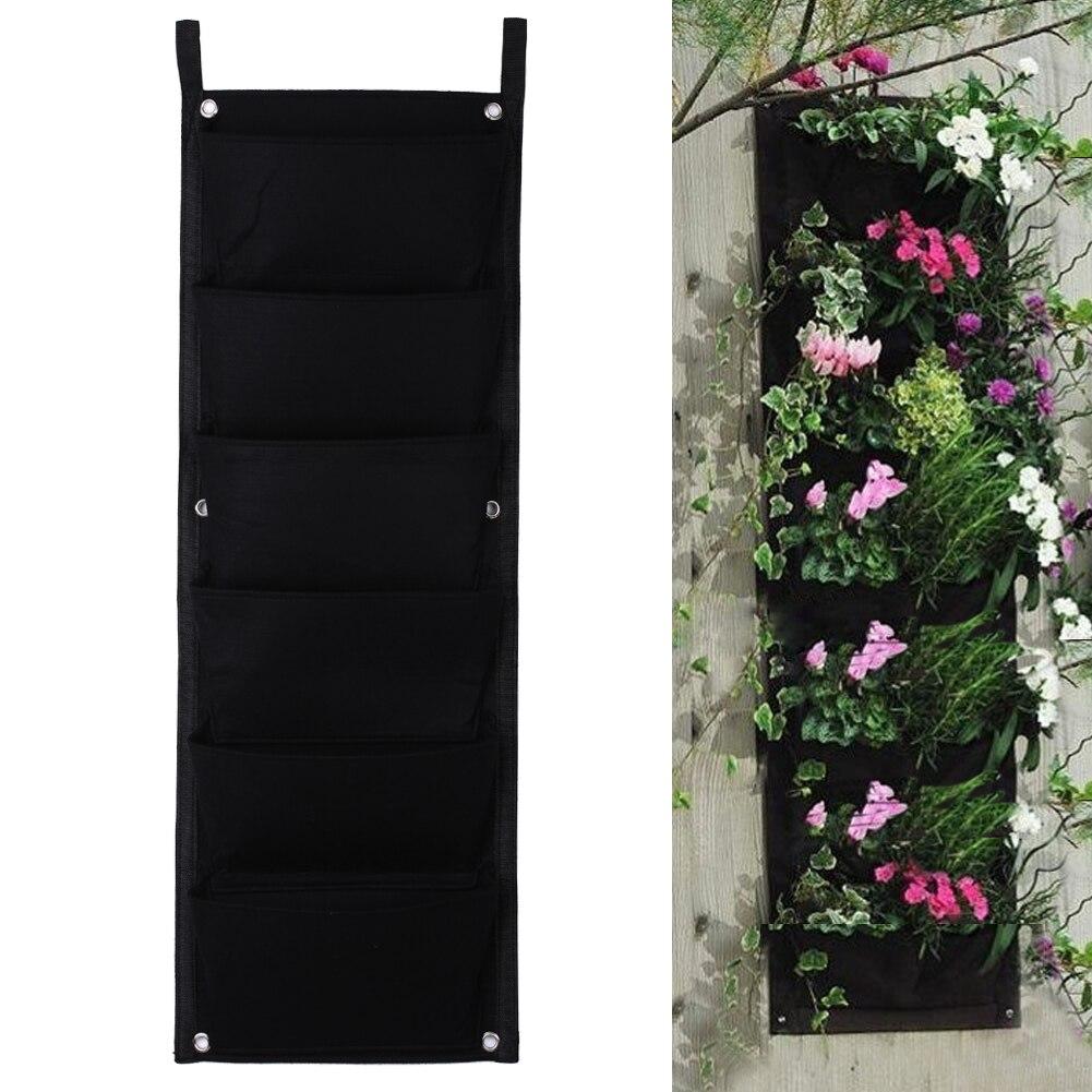Nouveau 6 Poches Noir Suspendu Vertical Mur Planteur De Jardin Plantation de Fleurs Sacs Pot Accueil Intérieur Extérieur Balcon Jardinage Semis