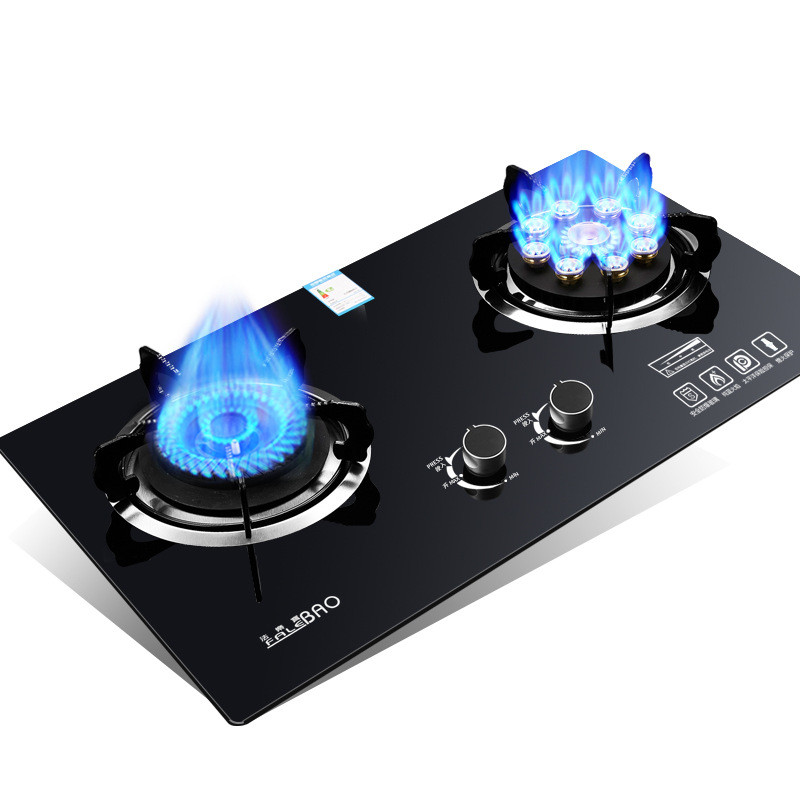 Energy-saving Domestic Children Protecting Dual Cooker Bulit-in Gas Hobs Intense Fire Kitchen Range Knob Powerful Cooktop