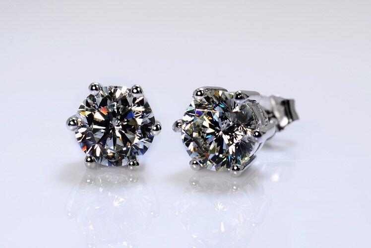 TE001 livraison gratuite! couleur or blanc 6 broches 0.5-2 carats ronde taille brillante sona simulé Gem Stud boucle d'oreille pour les femmes