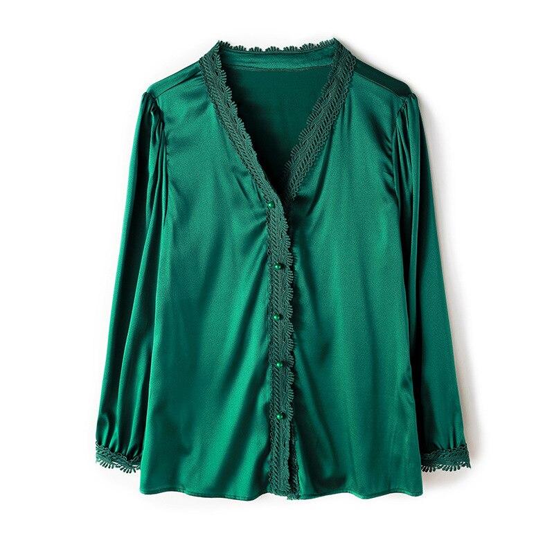 2019 Printemps Top Dames Silk Soie Rose Et Blanc Femmes pink white Green V Blouses Blouses Blouses cou Vert Vintage Chemises nfOxqS