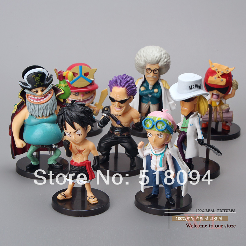 Anime One Piece WCF Luffy Koby Zephyr Warring.States.Buddha Q Version Mini PVC Action Figures Toys Dolls 8pcs/set OPFG313 цена и фото