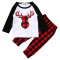 2pcs!!Xmas Newborn Baby Boys Girls Kids Casual Long Sleeve Deer T-shirt Tops+Red Plaid Pants Outfits Clothes Sets
