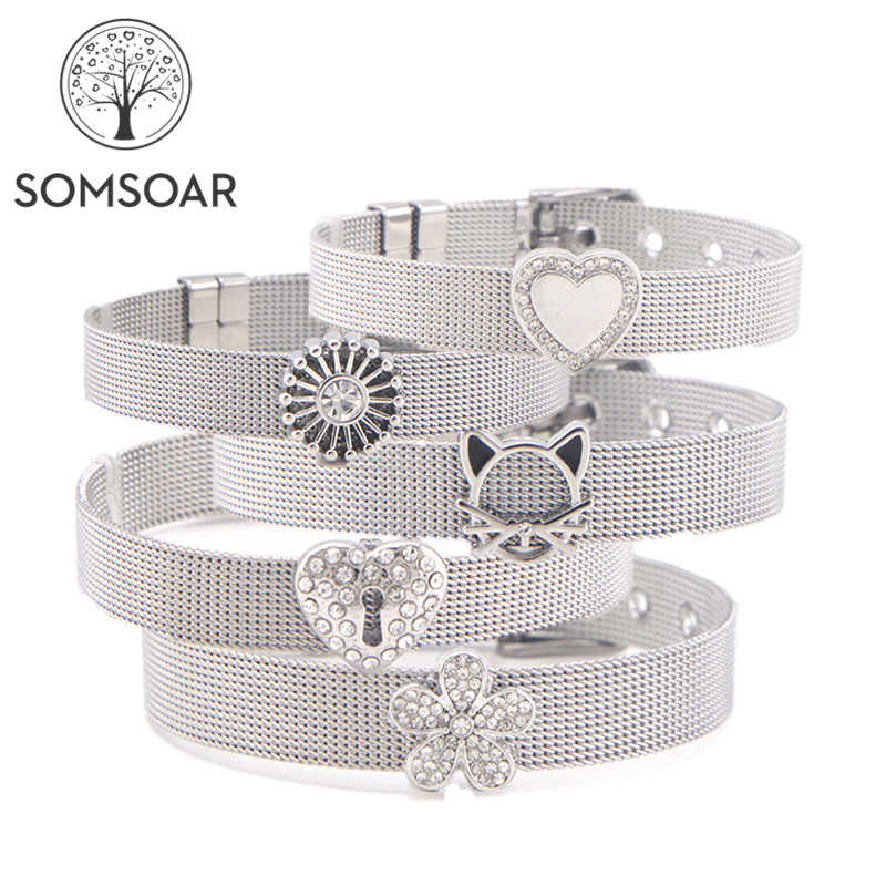 Dropshipping Somsoar Jewelry Silver Stainless Steel Mesh Bracelet Bangles with DIY Slide Charms Bracelets as Woman Best Gift