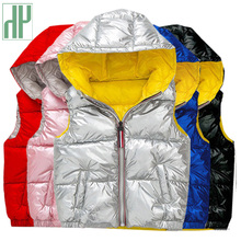 HH sleeveless jacket for kids vest waistcoat Coats gold silver Toddler girl vest hooded jacket winter autumn baby boy Outerwear
