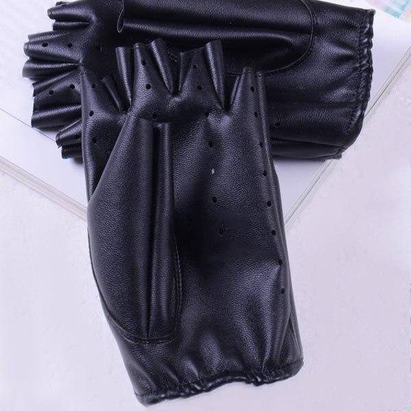1 pair النساء أزياء بو الجلود الأسود نصف اصبع قفازات كول القلب الجوف أصابع قفازات قفازات الإناث لاستعادة لياقته # 40 4