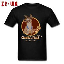 Great Dane Pizza Funny Cartoon Design T Shirt When Money Is No Object 100% Cotton Printing Tee-Shirt For Men Awesome Tshirts