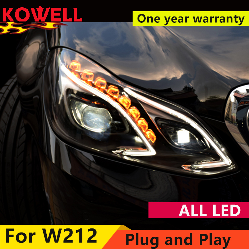 KOWELL Car Styling For E-Class E180 E200 E260 E300 <font><b>W212</b></font> ALL LED <font><b>headlight</b></font> 2014 2015 2016 Daytime Running Light bi- Xenon Lens image