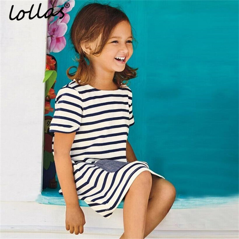 Lollas 2018 New Blue Striped Girl Dress Summer Girl Party Dresses Cotton Children Clothing Kids Casual Dress For Girls summer dresses for girls party dress 100% cotton summer cool and refreshing the harness green flowered dress 1 5years old