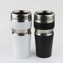 Café Tazas con Tapas de Metal Auto Del Coche Té Viajes Vaso de Leche 400 ml Taza de Café Botella de Agua de Acero Inoxidable para