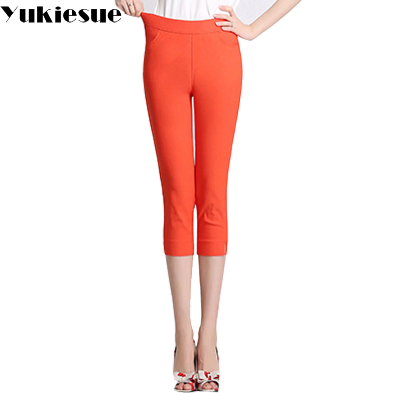 Candy color casual   pants     capris   women bottom high elastic waist skinny stretch pencil   pants   female trousers pantalon femme mujer