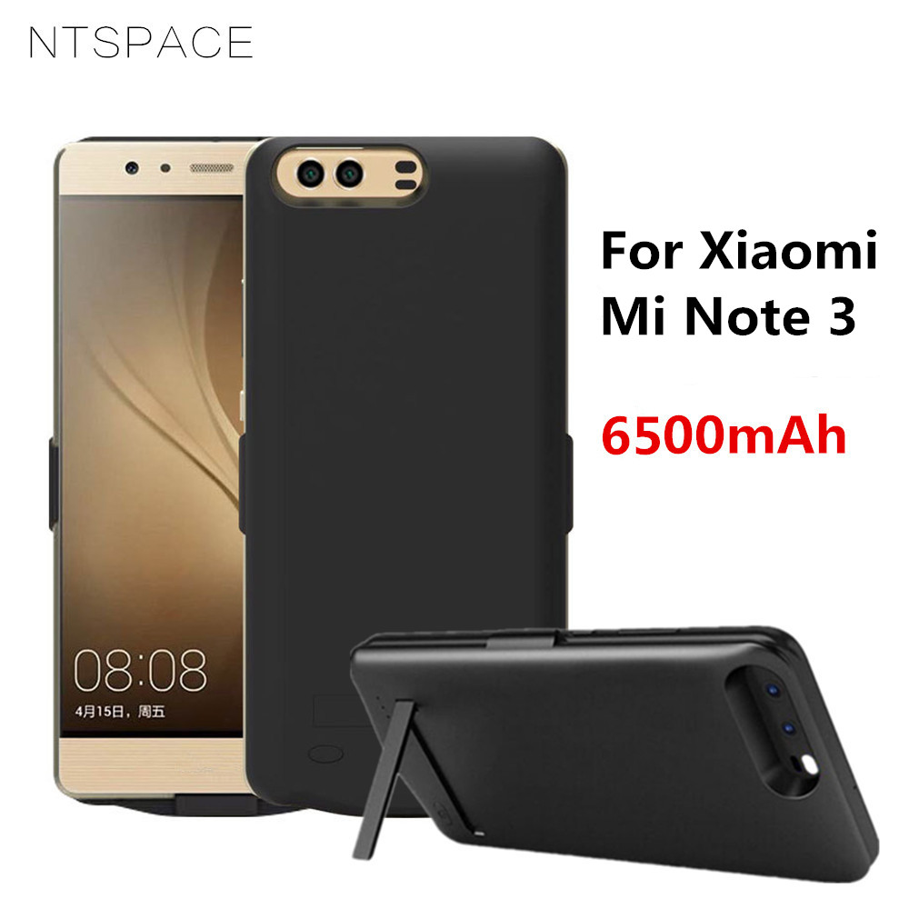 NTSPACE 6500mAh Portable Power Bank Charging Case For Xiaomi Mi Note 3 Battery Charger Cases External Powerbank Stand Back Cover in Battery Charger Cases from Cellphones Telecommunications
