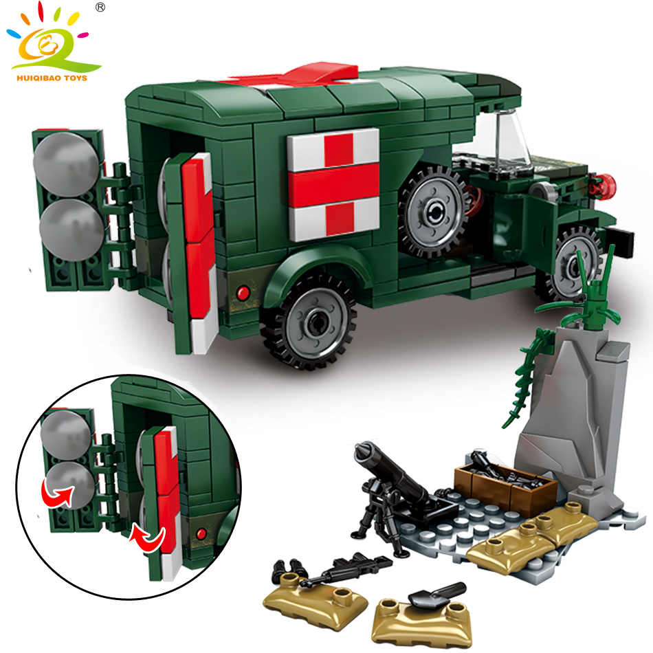 HUIQIBAO TOYS 262pcs Military Ambulance Building Blocks For Children Compatible legoinglys WW2 vehicle Army Truck Soldier bricks