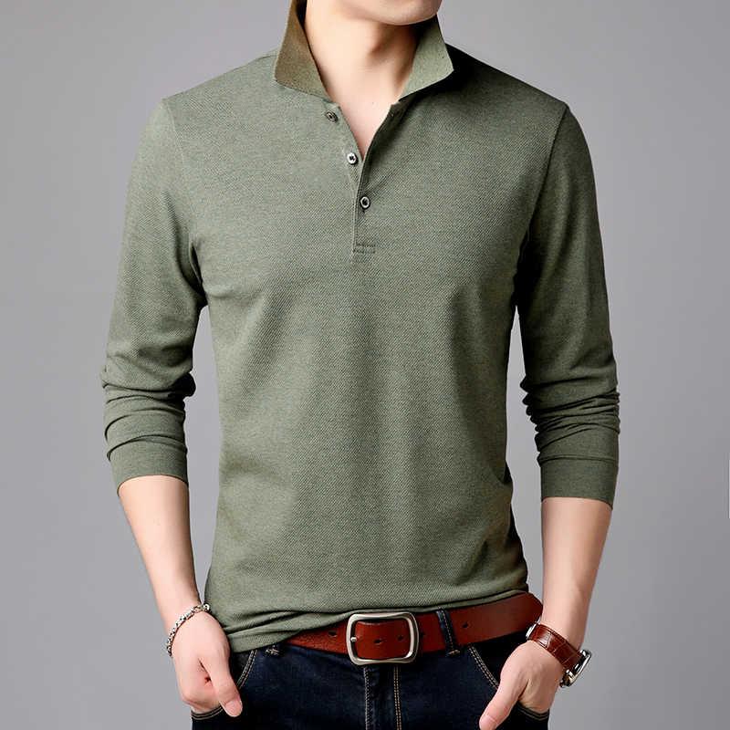 を 2019 トップグレードのファッションブランドポロシャツメンズ無地長袖スリムフィットボーイズ韓国 Poloshirt カジュアル男性服