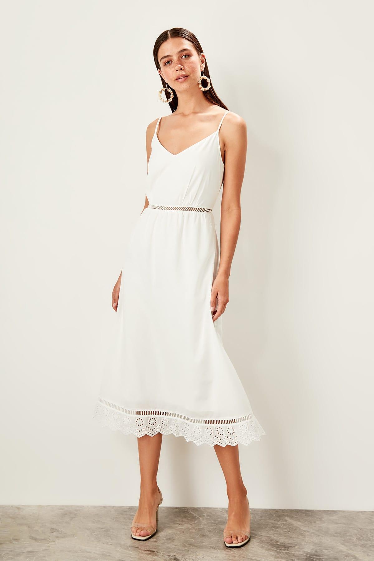 Trendyol White Halter Dress TWOSS19XO0102