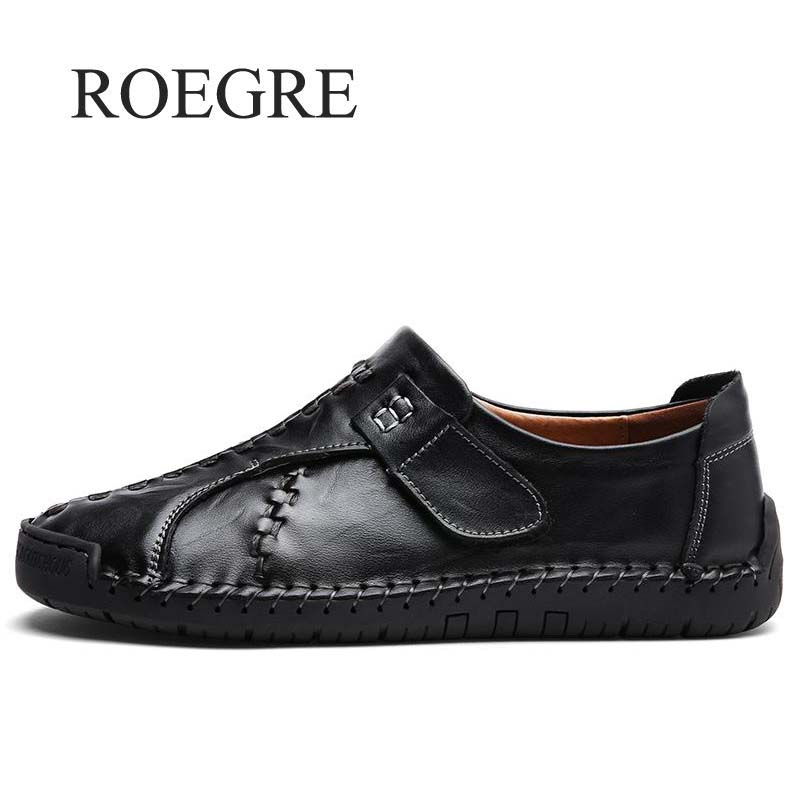 ROEGRE Handmade Genuine Leather Mens Shoes Casual Luxury Brand Men Loafers Fashion Breathable Driving Shoes Slip On Moccasins klywoo handmade men leather shoes mens loafers summer autumn moccasins breathable mens shoes casual driving sapato masculino