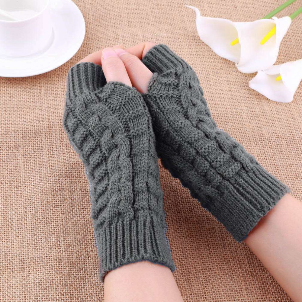 Unisex Knitted Long Stretchy Fingerless Gloves Mitts