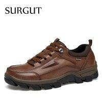 SURGUT Brand Plus Size 37 47 Men Shoes 2017 Spring Autumn Fashion Genuine Leather Casual Shoes
