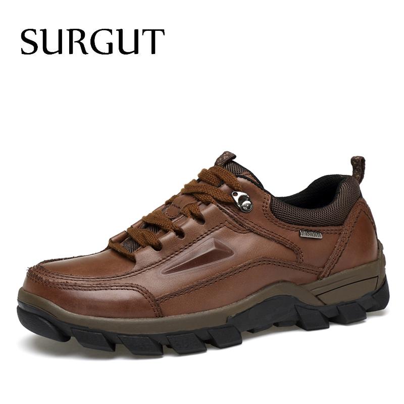 SURGUT Brand Plus Size 37-47 Men Shoes 2018 Spring Autumn Fashion Genuine Leather Casual Shoes Breathable Loafers Flat Men Shoes