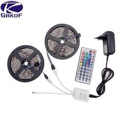 RGB светодиодные полосы света 10 м 5 м 5050 2835 60 светодиодов/м водостойкий светодиодный свет 10 м гибкий rgb Светодиодная лента + пульт дистанционно...