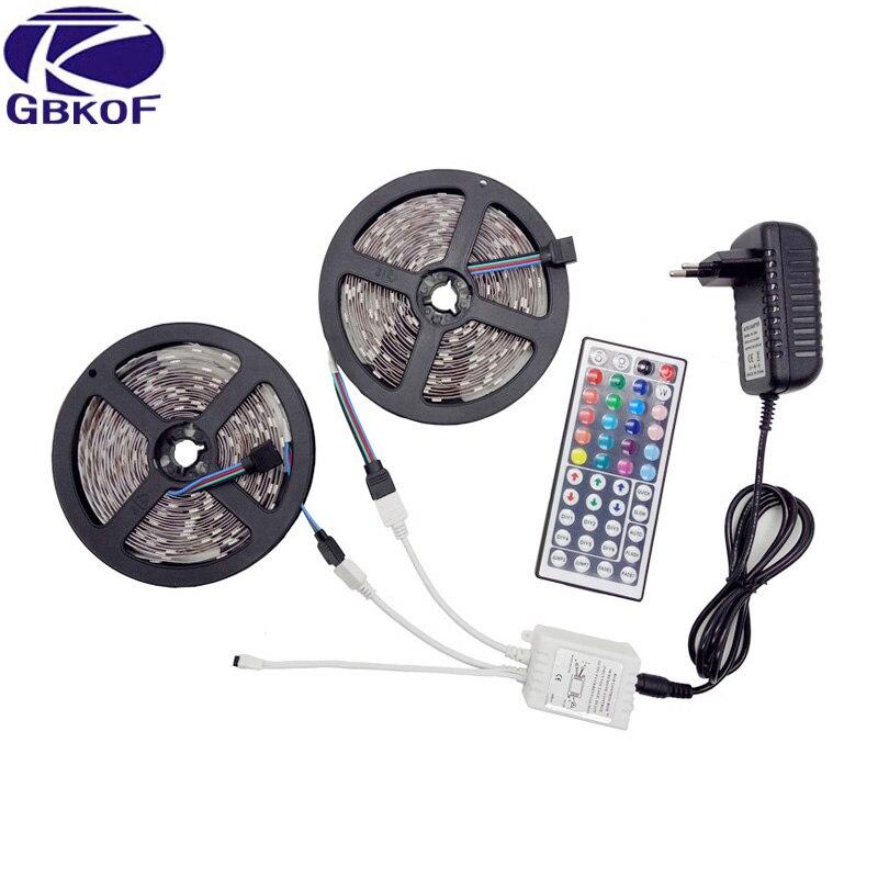 RGB led strip Light 10M 5M 5050 2835 60leds/M waterproof led light 10M flexible rgb diode led tape+Remote Control+DC 12V Adapter