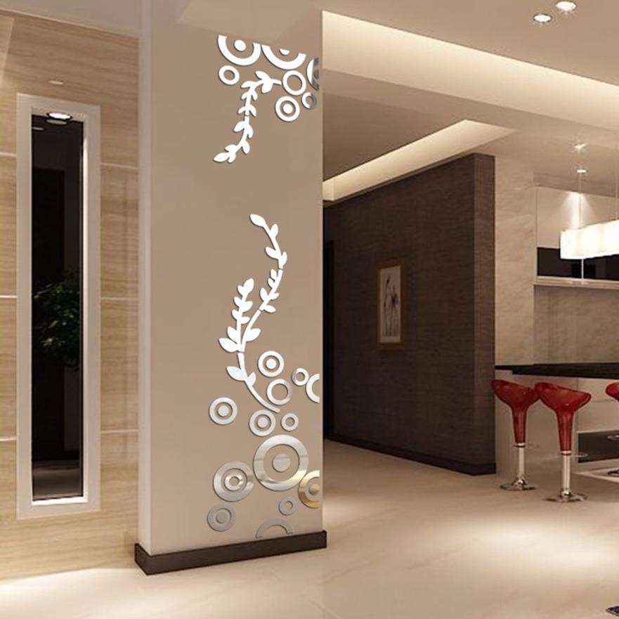 3D Wall Sticker Decoration Wallpaper Creative Circle Ring Acrylic Mirror Wall Stickers Interior Ornament Home Room Decor Decals