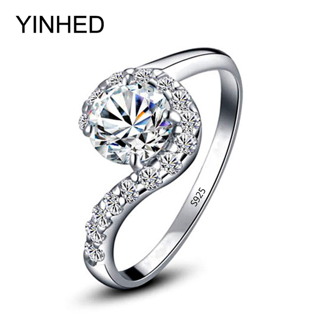 yinhed brand 925 sterling silver engagement ring jewelry round cut 2ct cz diamant wedding rings for - Sterling Silver Wedding Rings