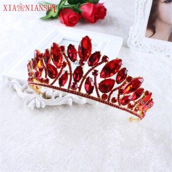 XIAONIANSHI nuevos diseños Real Corona de la reina de diamantes de imitación tiara para la cabeza de quinceañera boda corona novia Tiaras coronas de concursos