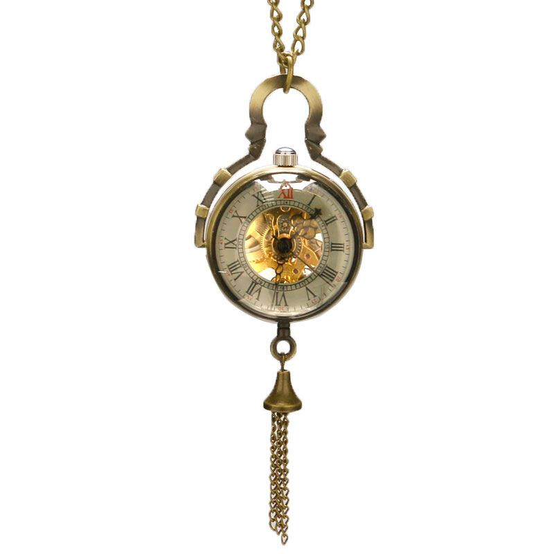 Graceful Crystal Mechanical Pocket Watch Transaparent Glass Ball Cover Pendant Chain Elegant Ladies Deco Clock Girls Gifts reloj old antique bronze doctor who theme quartz pendant pocket watch with chain necklace free shipping