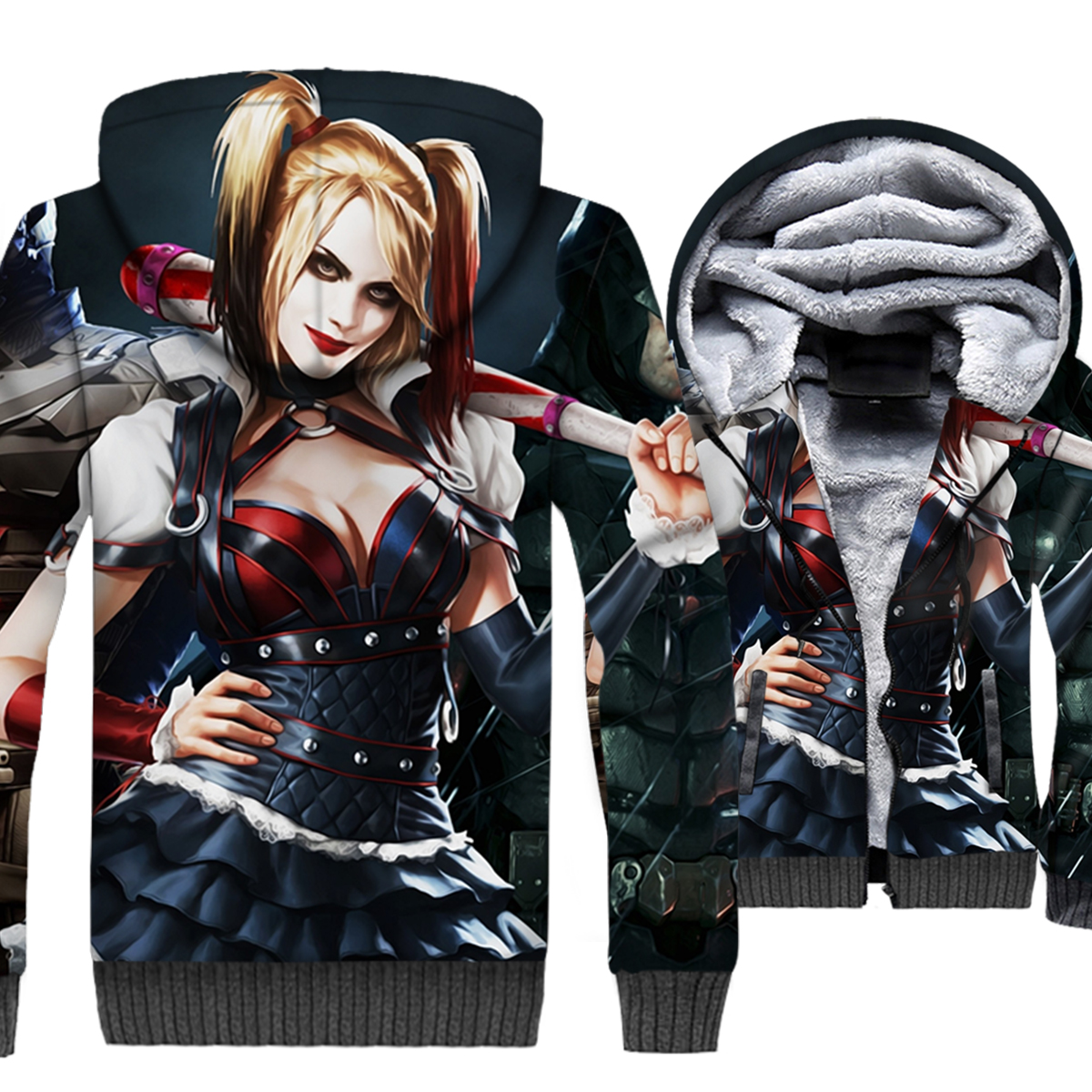 Batman 3D Wonder Woman Hoodies Suicide Squad Harley Quinn Sweatshirts Catwoman Coats Winter Fleece Injustice League Cool Jackets