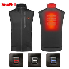 SNOWWOLF 2018 Men Winter Outdoor USB Infrared Heating Vest Jacket Electric Thermal Waistcoat Clothing hunting fishing vest(China)