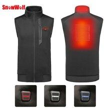 цена SNOWWOLF 2019 Men Winter Outdoor USB Infrared Heating Vest Jacket Electric Thermal Waistcoat Clothing hunting fishing vest онлайн в 2017 году