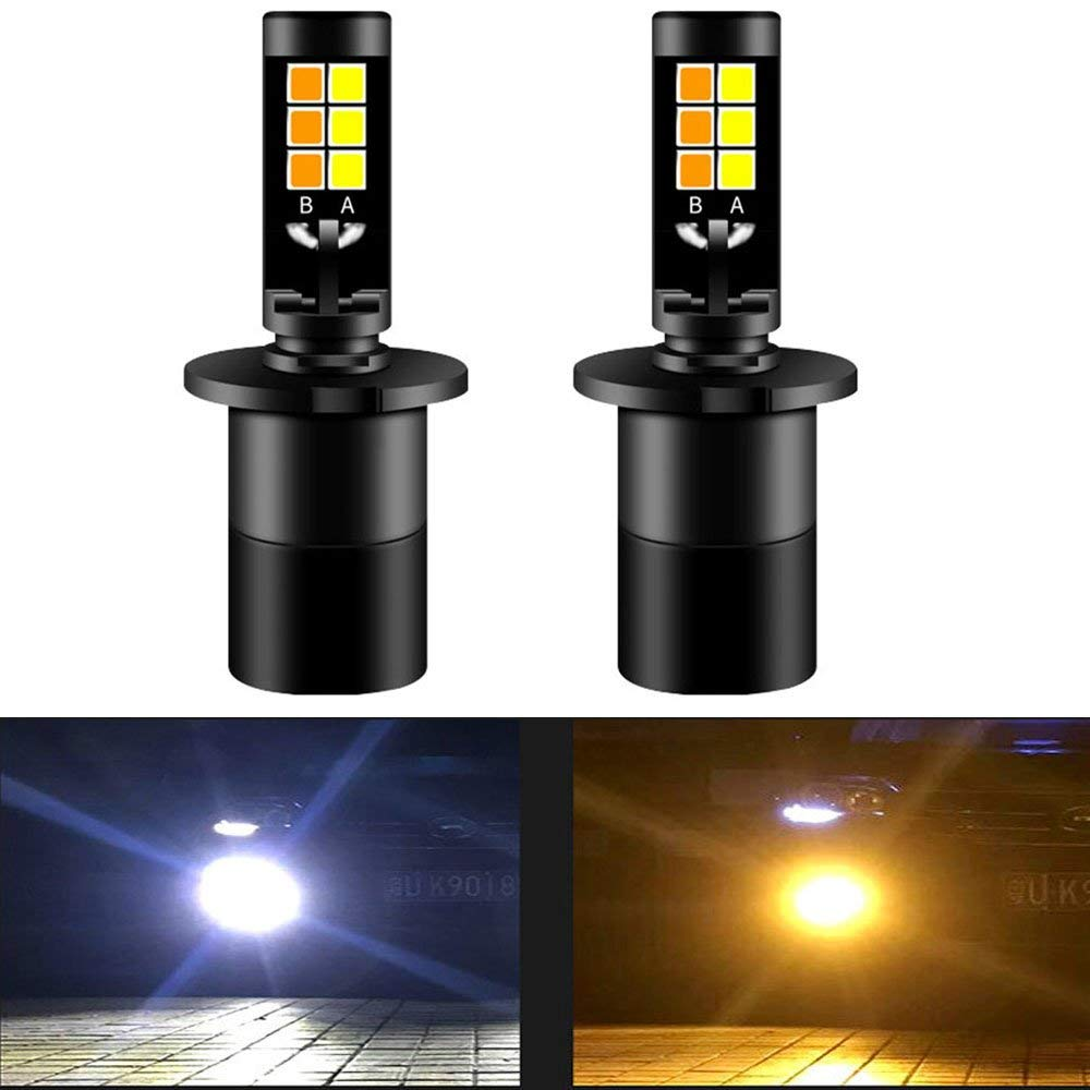 2x White+Yellow H1 LED High Power 180W 18000LM Fog Light Driving Bulb Dual Color Led Fog Light H1 Bulbs Front Lights Lamps Bulb free shipping 2pcs 9006 led 7 5w high power white led car bulb front head led car bulb fog light