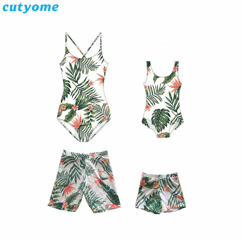 dd3445556a Mother And Daughter Swimsuit Family Look Mom Daughter Father Son Swimwear  Floral Mommy and Me Bikini