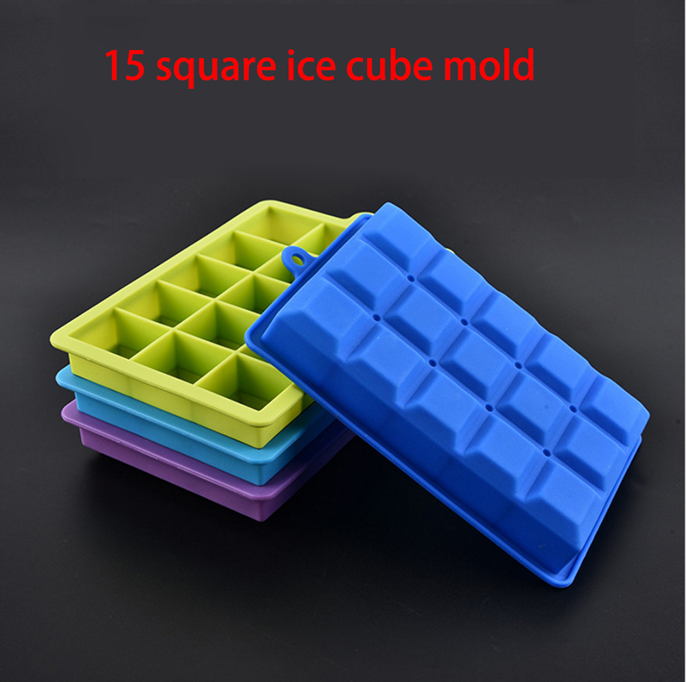 Factory direct silicone lattice 15 square ice cubicle mold ice dedicated food storage box home bar tools