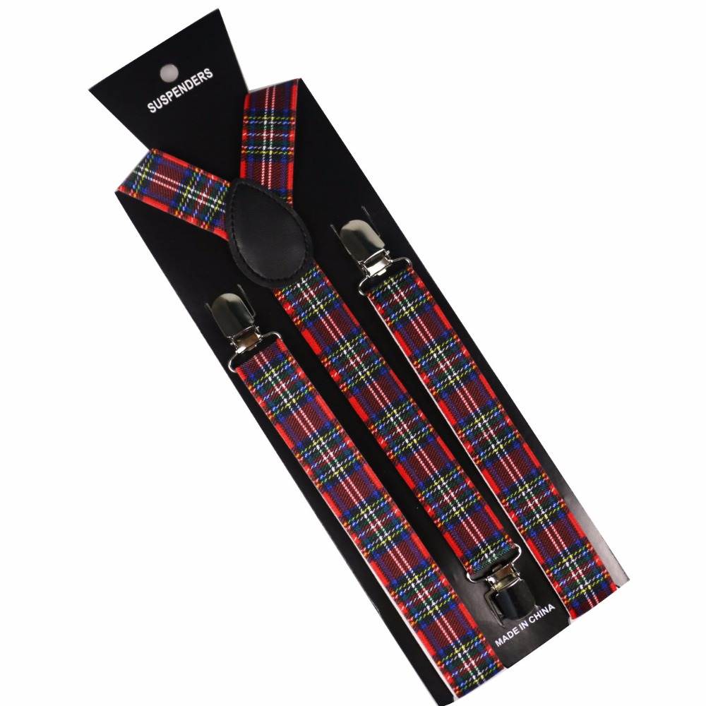 Winfox New Fashion Mens Women Adjustable Suspenders Red Plaids Clips On Y-Back Braces Elastic
