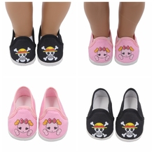 Dolls shoes American Sport Cloth Shoe Pink Pirate Pattern Baby Toys Fit 18 inch Girl and 43 cm Doll Accessories