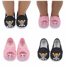 Dolls shoes American Sport Cloth Shoe Pink Pirate Pattern Baby Toys Fit 18 inch Girl and 43 cm Baby Doll Accessories(China)