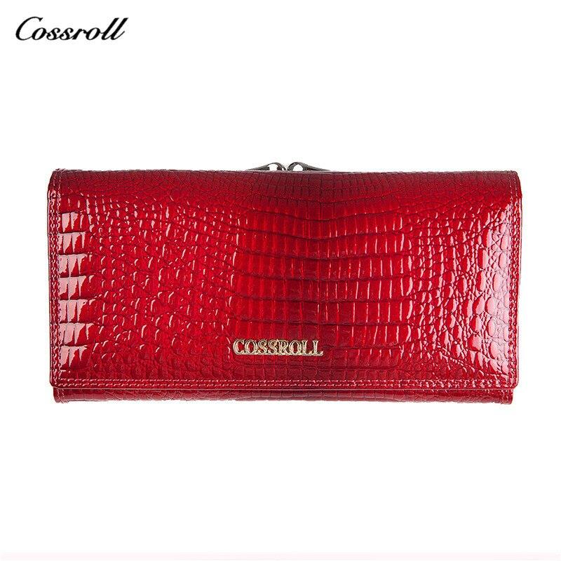 COSSROLL Echtem Leder Rote Brieftasche Frauen Multifunktions-frauen Geldbörse Carteira Feminina Billetera Damen Magie Brieftaschen Karte