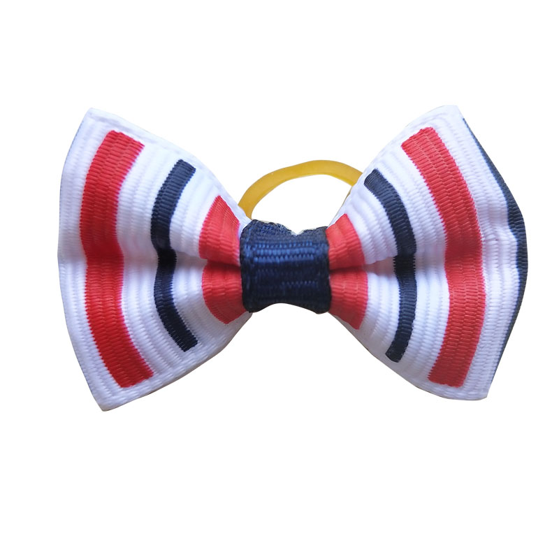 Image 4 - 100pcs Dog Bows Red White Blue Pet Dog Hair Accessories Hand made Independence Day Pet Dog Bow Rubber Bands Pet ShopDog Accessories   -