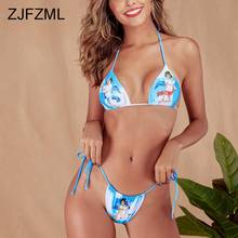 Angel Print Sexy Summer Two Piece Matching Sets Women Halter Backless Crop Top + Tie Up Shorts Beach 2 Piece Women Clothes 2019 недорого