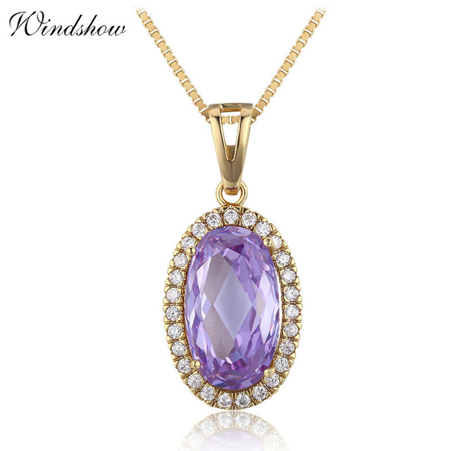 Big oval light purple violet cz accent suspension necklaces big oval light purple violet cz accent suspension necklaces pendants chain necklace women jewelry collares mozeypictures Gallery