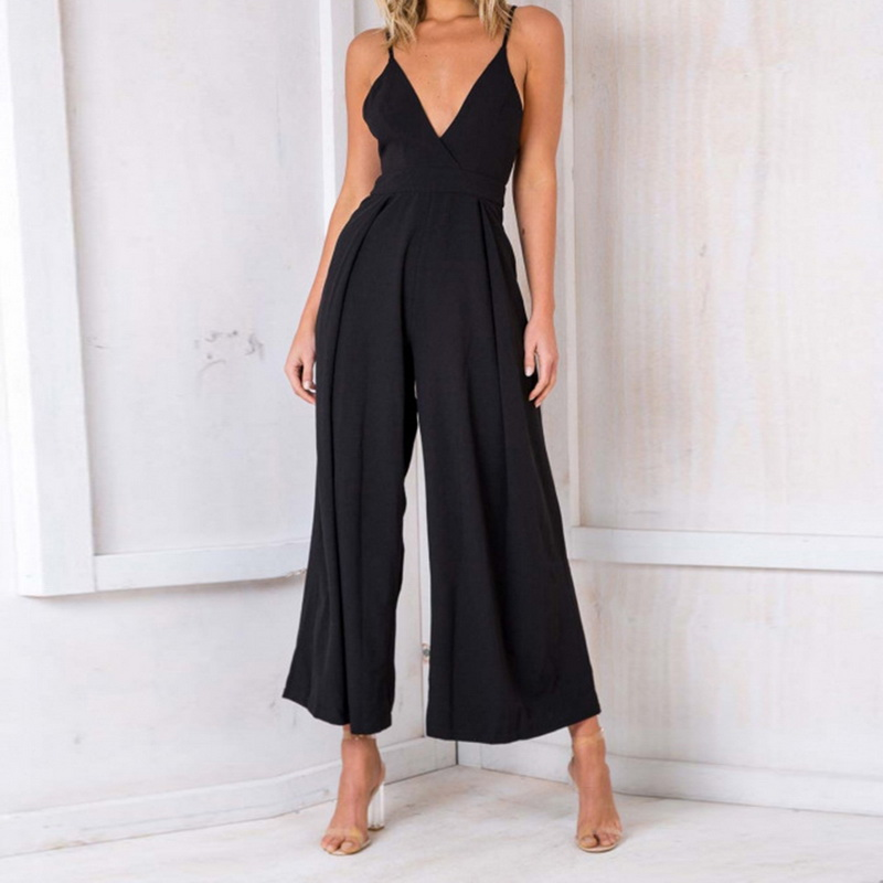 CALOFE Fashion Sexy V Neck Clubwear Sleeveless Jumpsuit Backless Hollow Out Women Wide Leg Trousers Ladies Rompers Playsuit