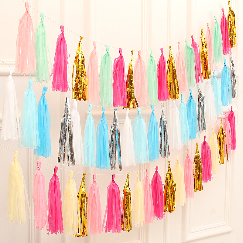 5Sheets/Pack Tissue Paper Tassels for Wedding Decoration Kids Birthday Baby Shower Party DIY Craft Supplies Decor Props Tools
