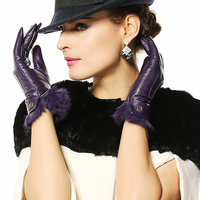 Women Genuine Leather Gloves Woman Gloves With Genuine Rabbit Hair Color Purple Dark Red Black Coffee