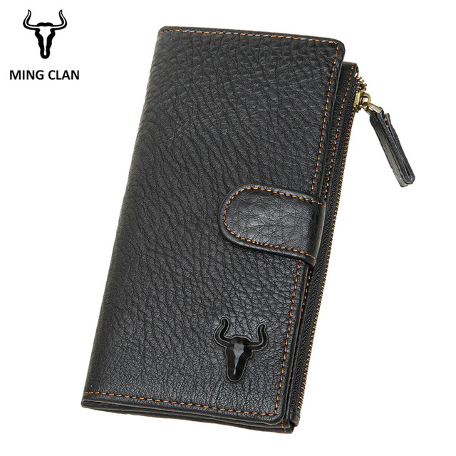 70eac85859 Mingclan Women Men Wallet Female Genuine Leather Long Wallets Coin Purse  Small Card Holder Zipper Clamp Cell Phone Portomonee-in Wallets from  Luggage ...
