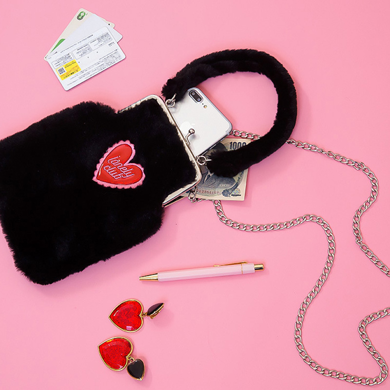 Bentoy New Fashion Shoulder Bag Women Cute Heart Chain Small Messenger Phone Coin Bag Plush Winter Handbags Crossbody Fur Bag