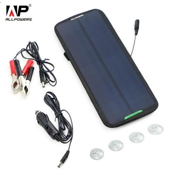 ALLPOWERS 18V 7.5W Solar Charger Solar Panel Battery Maintainer Charging for Car Automobile Motorcycle Tractor Boat Battery ect. allpowers portable solar car battery charger automatic 18v 12v 7 5w solar panel charger battery maintainer boat motorcycle