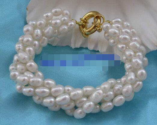 popular 5strands 7mm white baroque freshwater pearls bracelet - Click Image to Close