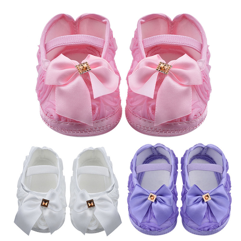 Toddler Shoes Baby Princess Shoes Newborn Girls Bowknot Rubber Band Soft Bottom Lovely Casual Pre Walkers Shoes Butterfly Rose